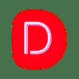Briefkopf roter Neonschrifttyp d