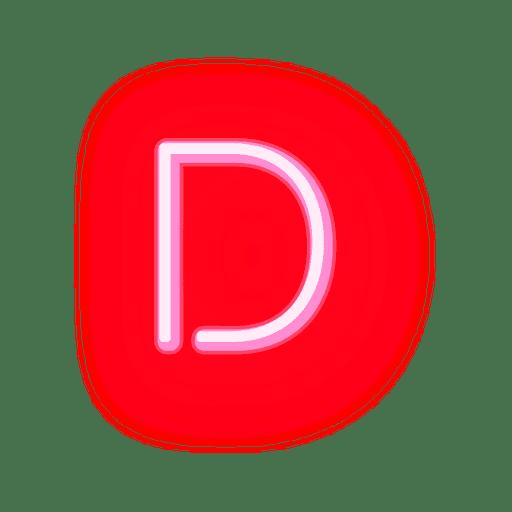 Membrete rojo neón fuente d Transparent PNG
