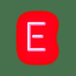 Fonte de néon vermelho timbrado e