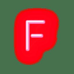 Fonte de néon vermelho timbrado f
