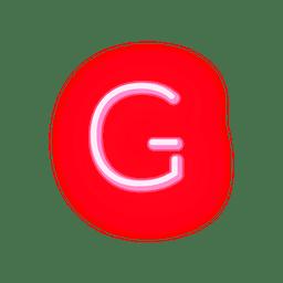 Fonte de néon vermelho timbrado g