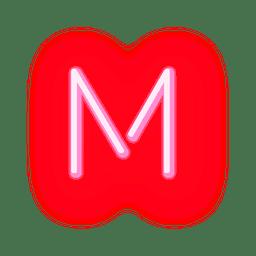 Carta de néon vermelho letra m