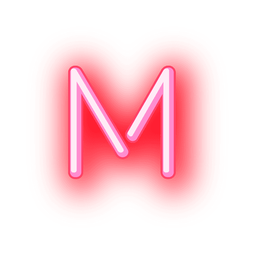 Letterhead Red Neon Letter M