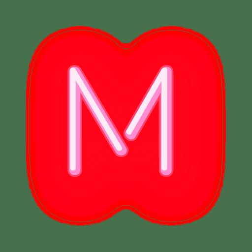Membrete rojo neón letra m Transparent PNG