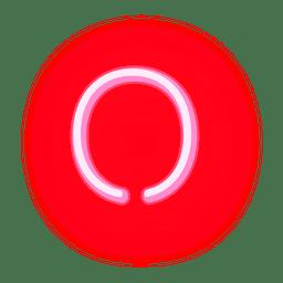 Carta de néon vermelho letra o