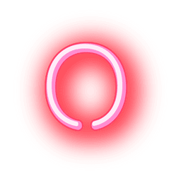 Membrete de neón rojo letra o