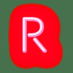 Carta de néon vermelho letra r