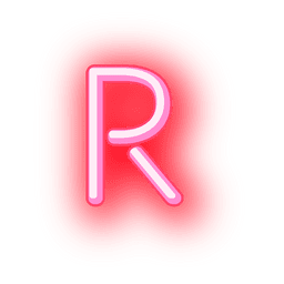 Membrete de neón rojo letra r