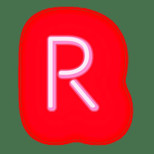 Membrete rojo neón letra r