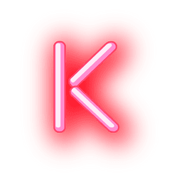 Membrete rojo neón texto k