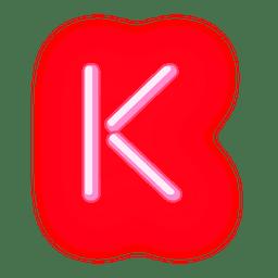 Texto timbrado neon vermelho k