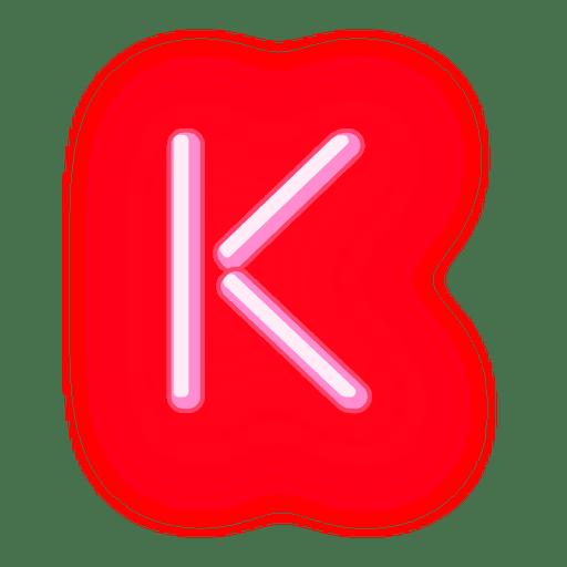 Membrete de neón rojo con texto k Transparent PNG