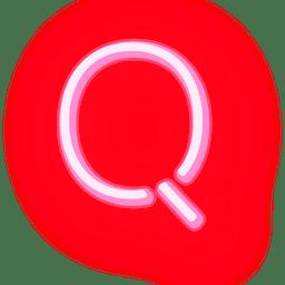 Texto timbrado em neon vermelho q