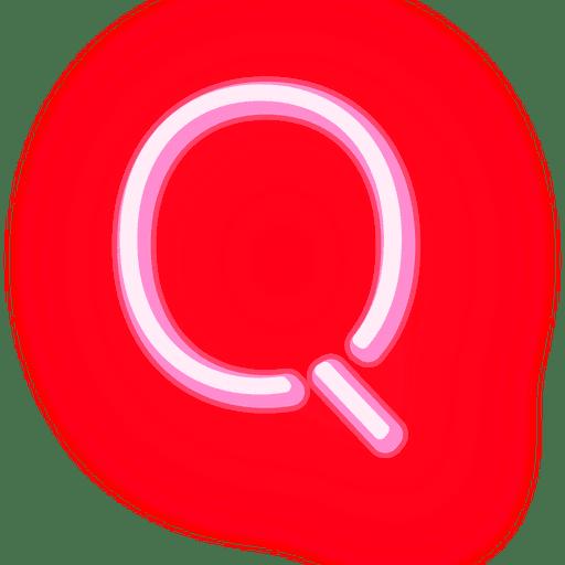 Membrete de neón rojo con texto q Transparent PNG