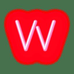 Membrete de neón rojo con letra w