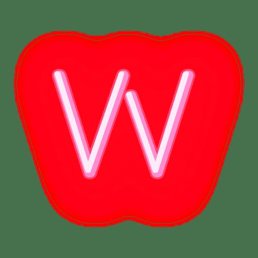 Membrete de neón rojo con letra w Transparent PNG