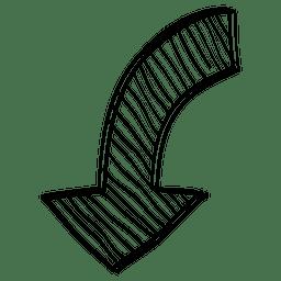 Flecha de dirección inferior lineal