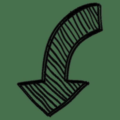 Seta de direção inferior linear Transparent PNG