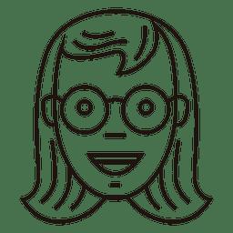Schoolgirl, redondo, óculos, alegre