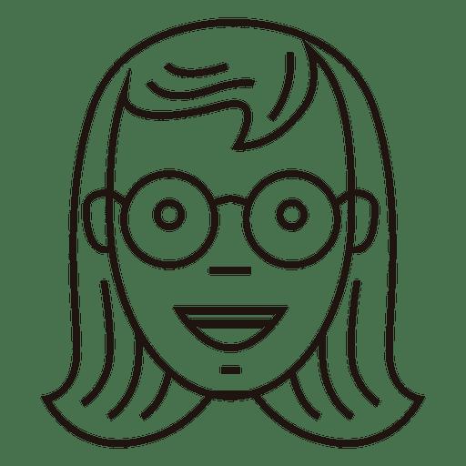 Schoolgirl round glasses cheerful