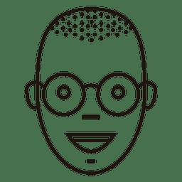 Gafas sonrientes sin pelo