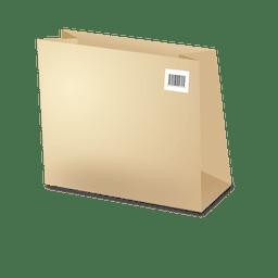 Plantilla de bolsa de carton con codebars.