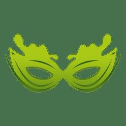 Máscara de carnaval verde de viaje.