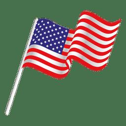 Ondeando bandera de los eeuu