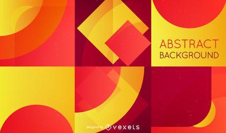 Fundo abstrato com formas vermelhas e amarelas retros