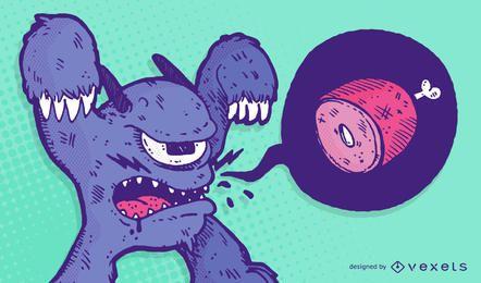 Ilustración de monstruo hambriento