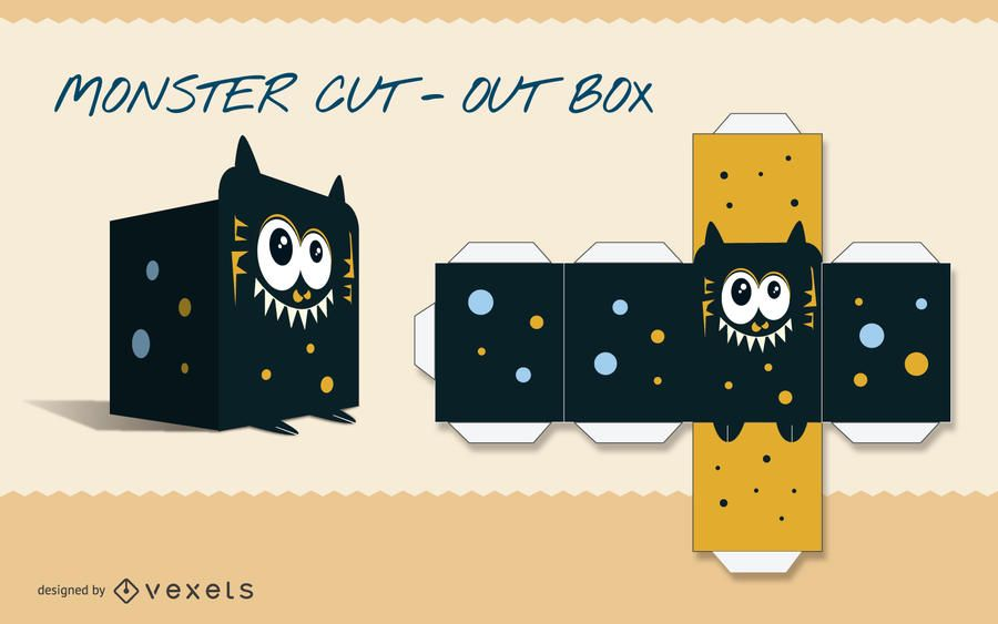 Monster Paper Craft Template - Vector Download
