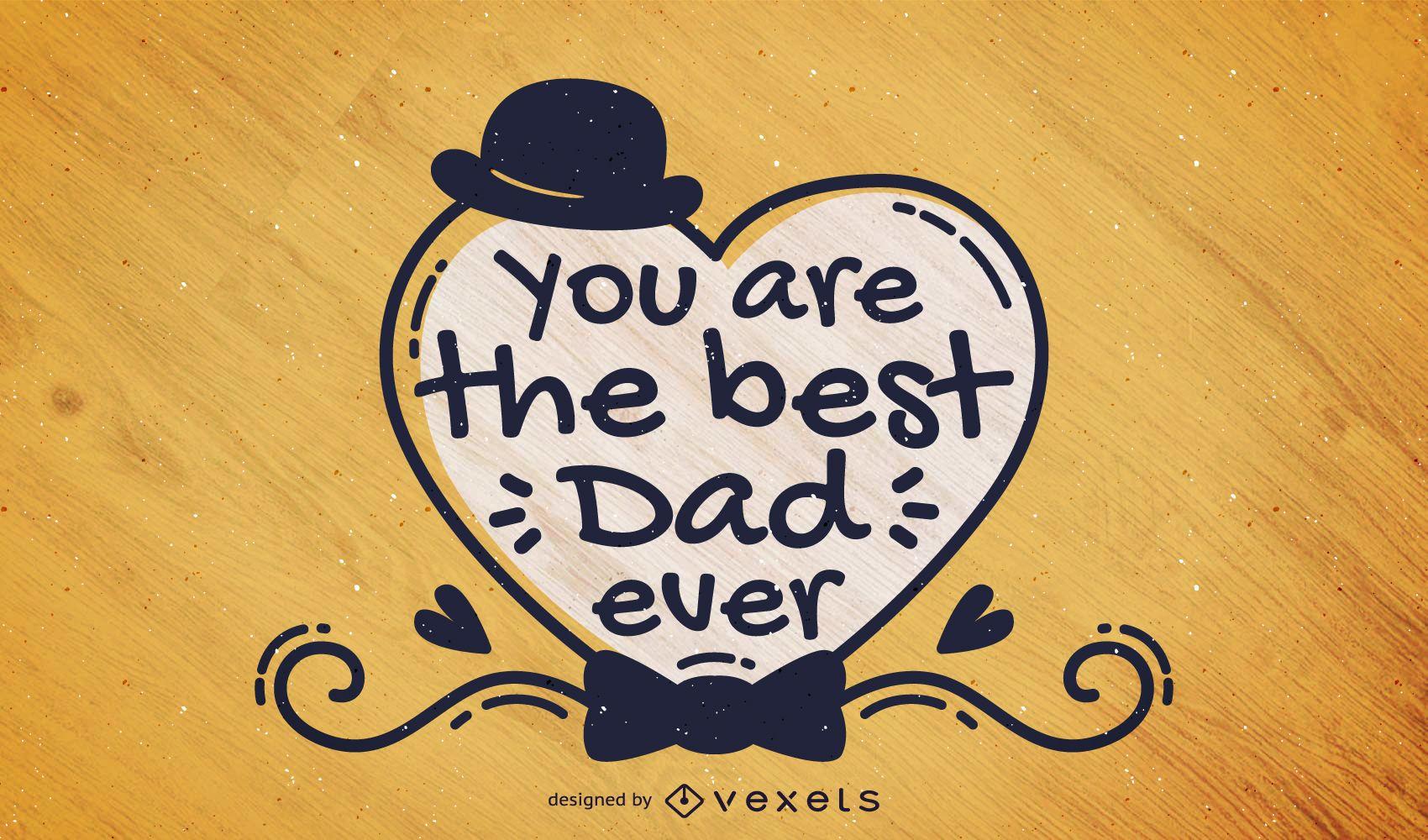 Cartão escrito à mão para o dia dos pais