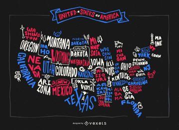 Mapa dos EUA com estados escritos à mão