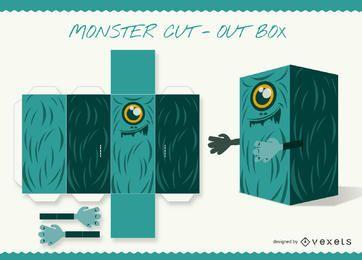 Caja de recortes monstruo artesanal de papel