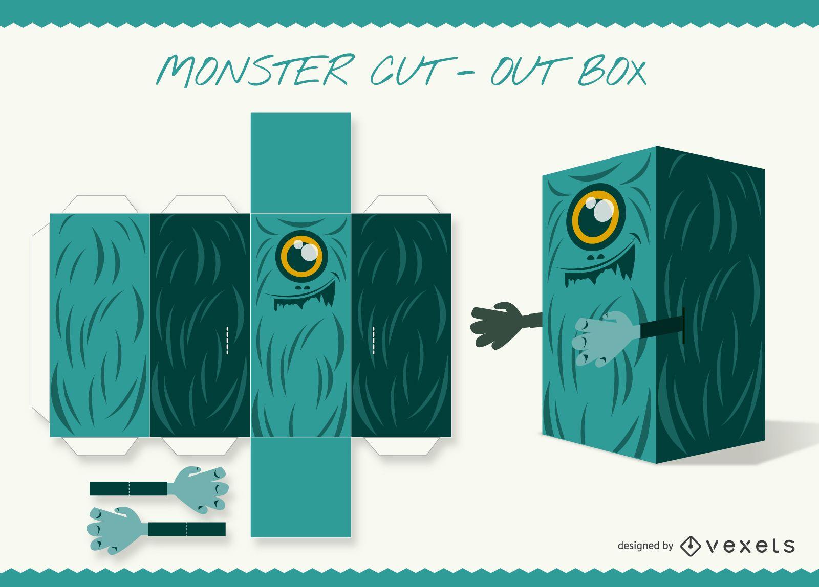 Manualidad de papel caja recortable de monstruo