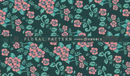 Patrón floral verde y rosa