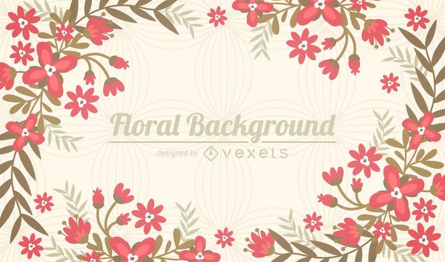 Fondo de marco de flores planas
