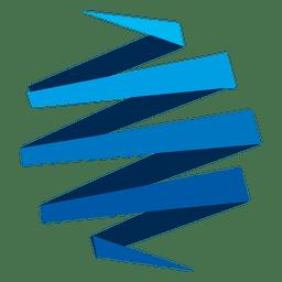 Icono azul de origami zig zag