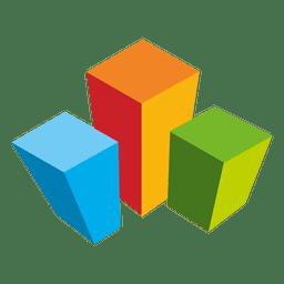 Logotipo de imóveis de cubos coloridos