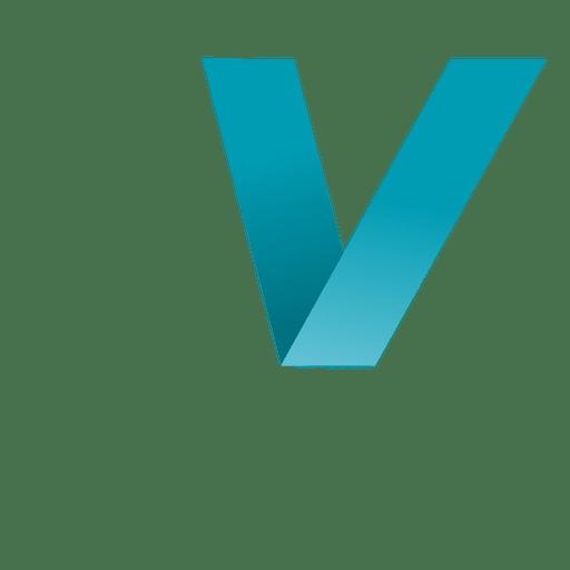 V letter origami isotype