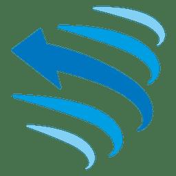 Icono de flecha de líneas curvas