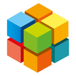 Logotipo colorido de cubos 3d