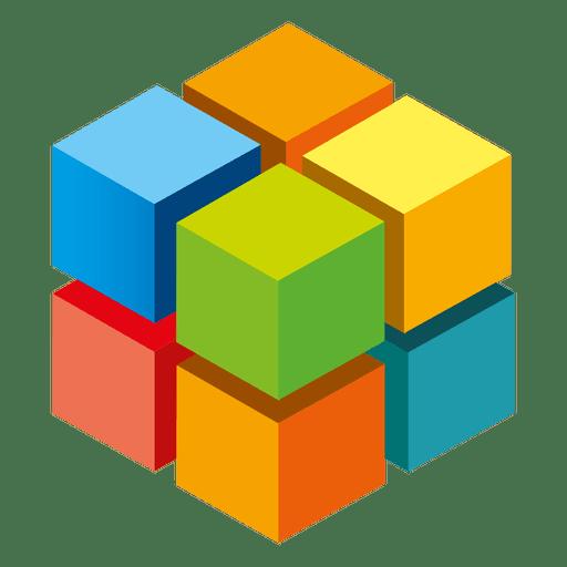 Colorful 3d cubes logo - Transparent PNG & SVG vector file