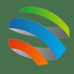 Ícone colorido da órbita da espiral 3d