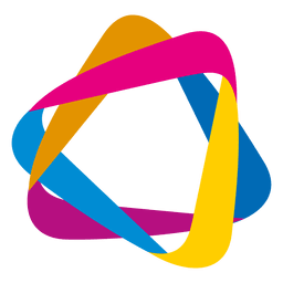 Colorful orbit triangles icon