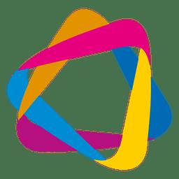 Icono de triángulos de órbita colorido
