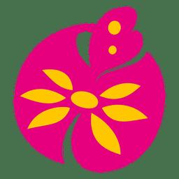 Icono de planta de flor rosa