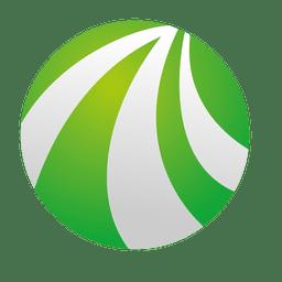 Curvas verdes icono de órbita