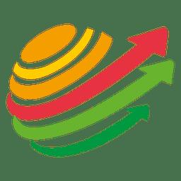Girando flechas multicolor logo
