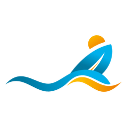 Wave surfing beach logo